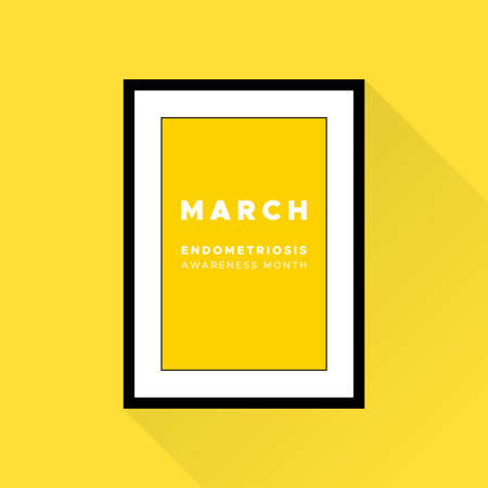 Endometriosis Awareness Month. March. Yellow color. Vector illustration, flat design