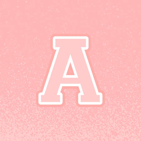 Letter A icon design. Back to school. College style. Grunge texture. Vector illustration, flat design