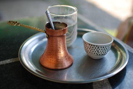 Traditional turkish coffee on table