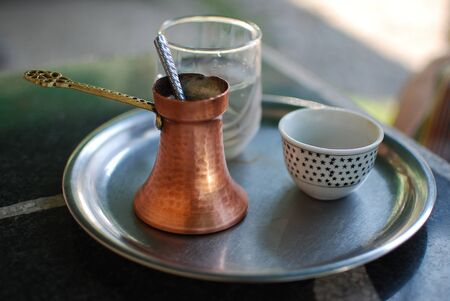 Traditional turkish coffee on table