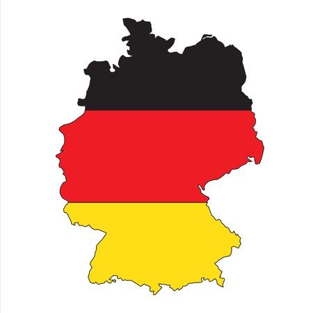 bandera de alemania: Alemania mapa con bandera Vectores
