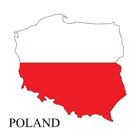warsaw: Poland map with flag and name