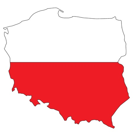 Poland map with flag