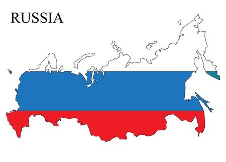 bandera rusia: Rusia mapa con la bandera y el nombre