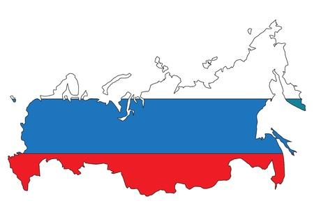 bandera rusia: Rusia mapa con bandera