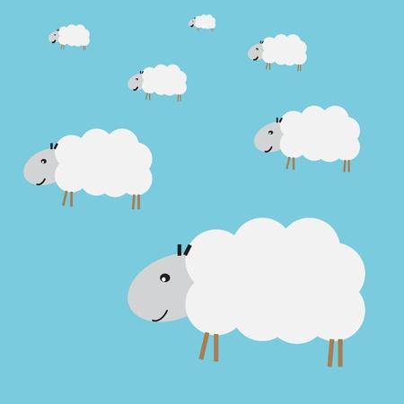 lamb cartoon: Flock of sheep