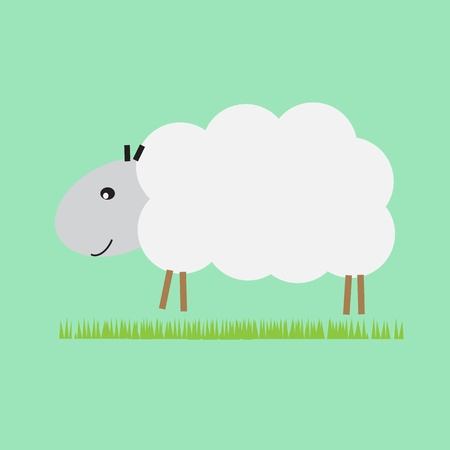 Single sheep in the pasture Vector