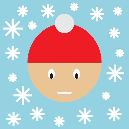 Winter, snow and boy Vector