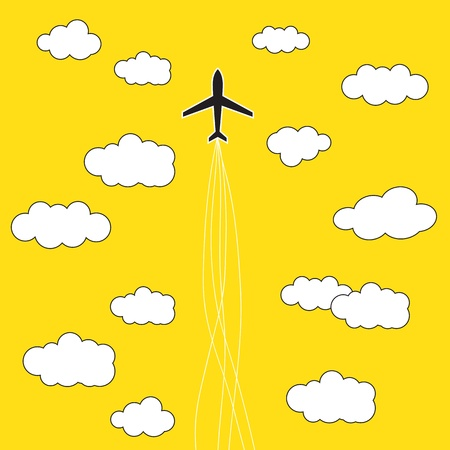 airport: Airplane in the clouds background Illustration