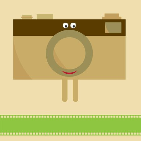 Camera with film character Vector