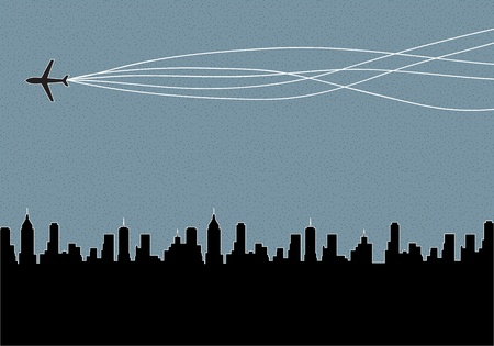 Plane flying over the city background Illustration