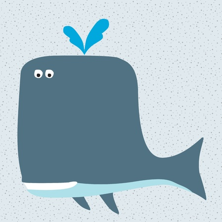 Smiling cartoon whale character Vector
