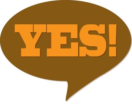 yes communication: Yes! comic talking bubble Illustration
