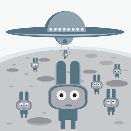 Attack of the grey aliens on your planet characters Vector
