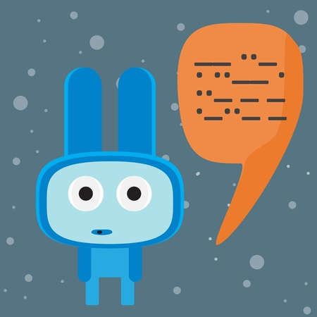 Blue alien speaking to you character Vector