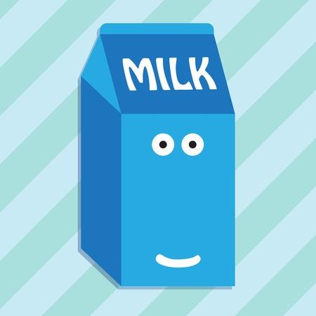 envase de leche: Cartón de leche de carácter sonriendo Vectores