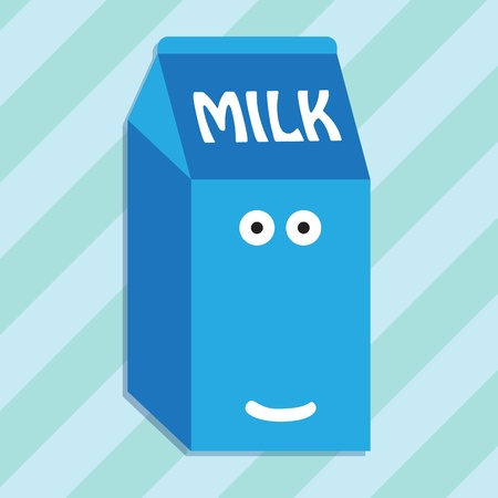 Carton of milk smiling character Vector