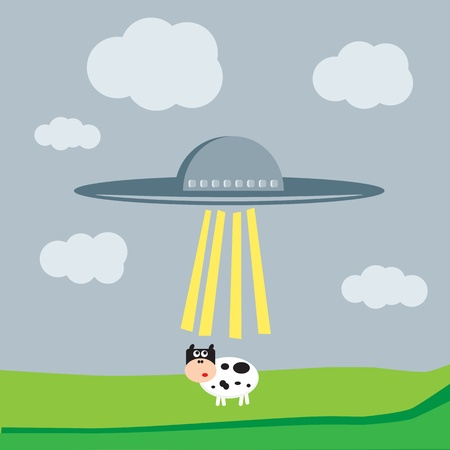 Spaceship kidnaps the cow Vector