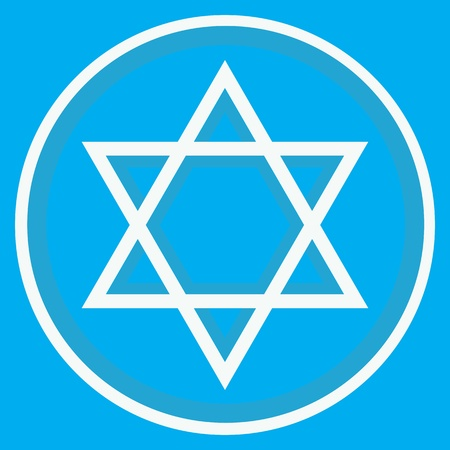 Star of David and blue background Vector