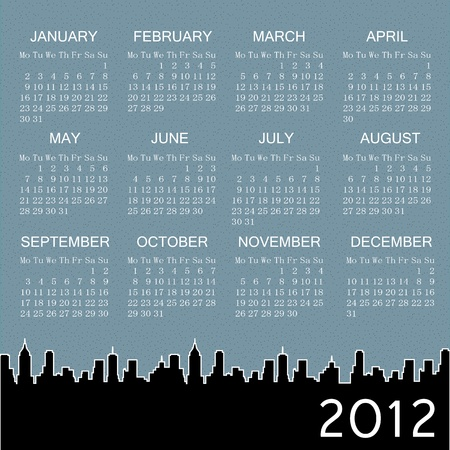 2012 calendar with city at background Vector