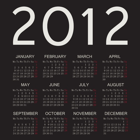 2012 calendar with dark background