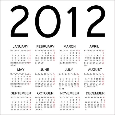 2012 simple calendar with white background Illustration