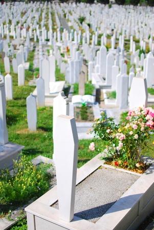 Muslim graveyard in Sarajevo, Bosnia