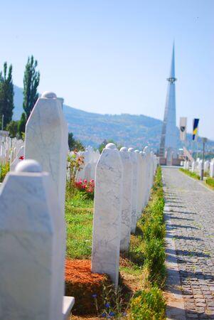 bosna: Muslim graveyard in Sarajevo, Bosnia