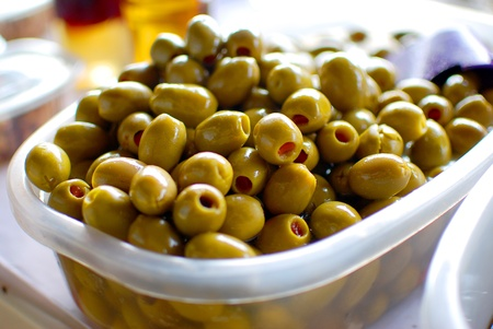 Greek olives sold in the market photo