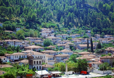 The buildings of the ancient city of Berat in Albania Stock Photo