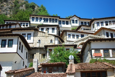 The buildings of the ancient city of Berat in Albania Editorial