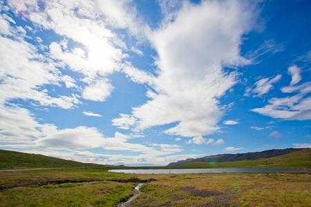 Landscape of summer in the mountains of Iceland photo