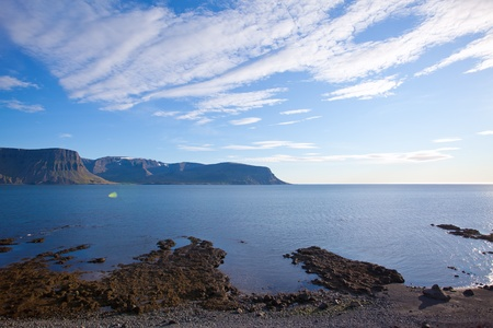 Landscape of summer in the fjords of Iceland photo