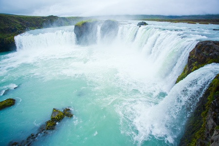 waterfall with sky: Godafoss waterfall in the northern Iceland Stock Photo