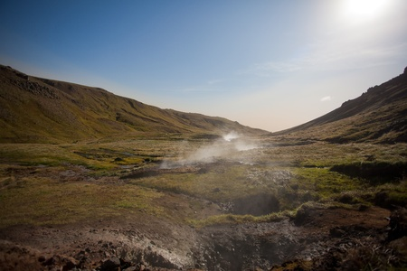 Thermal areas in the mountains of Iceland photo