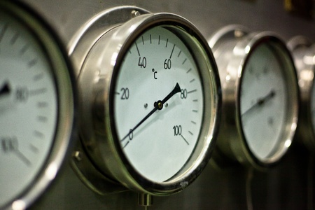 Industrial hydraulic pressure gauge in the factory Stock Photo - 11700041