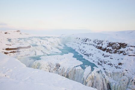 Gullfoss waterfall during the winter, Iceland, Scandinavia photo
