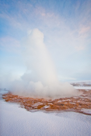 Geyser during the winter, Iceland, Scandinavia