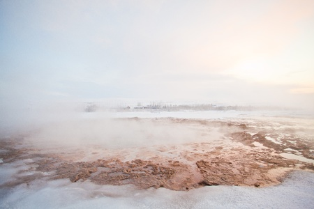 Geyser during the winter, Iceland, Scandinavia photo