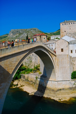 Mostar, Bosnia, Ancient bridge in the summer Stock Photo