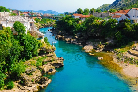 Mostar, Bosnia, Landscape in the summer photo