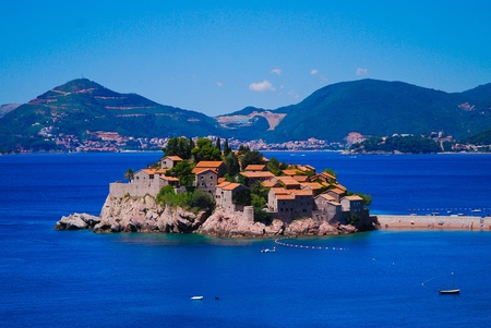 sveti: Sveti Stefan island, Montenegro, Balkans, Europe Stock Photo