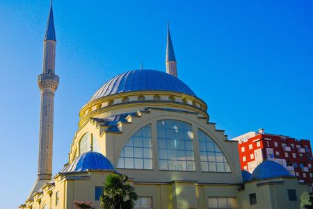 Mosque and minaret in the Balkans Stock Photo