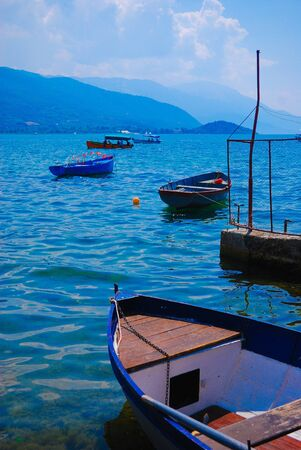 Boat and the lake in summer, Balkans Stock Photo