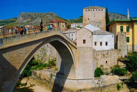 Mostar, Bosnia, Europe, Ancient bridge in the summer