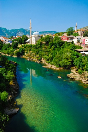 unesco world cultural heritage: Mostar, Bosnia, Europe, Landscape in the summer Stock Photo