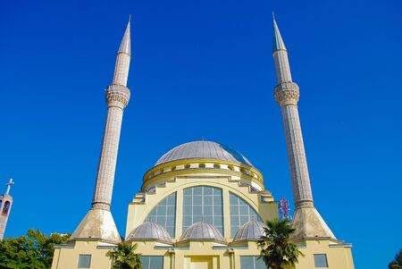 Mosque and minaret in the Balkans, Europe Stock Photo