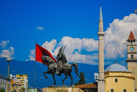 albanian: The center of Tirana in Albania, Balkans, Europe
