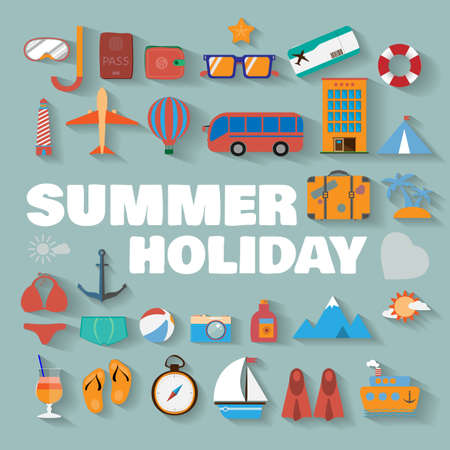 Summer infographics. Travel vector digital background illustration. Summer holiday icon set. Ilustracja