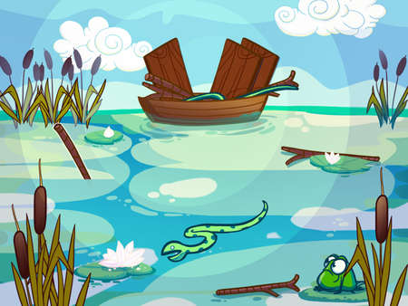 water lilly: Boat on a lake drawn in cartoon style.